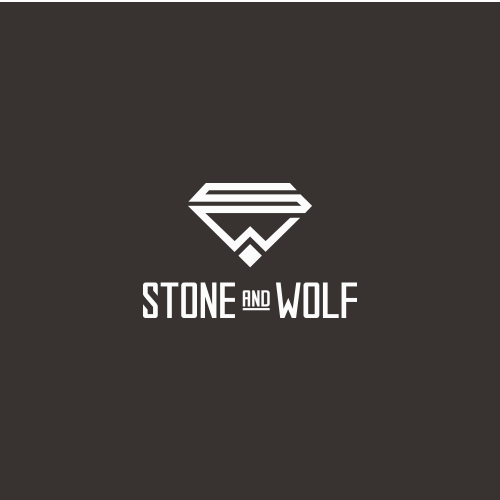 Logo proposal for Stone & Wolf. A new brand of mens bracelets made from natural semi-precious stones and stainless steel elements specially made for professionals.