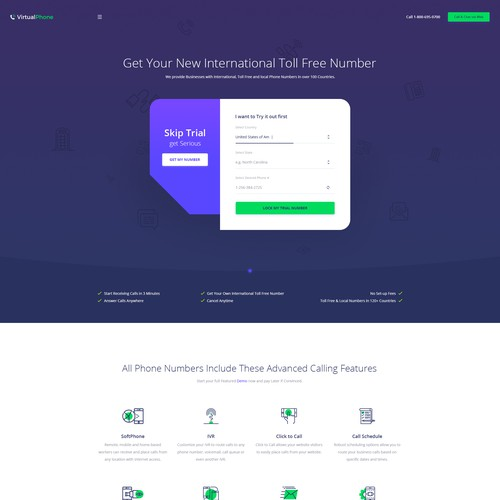 Landing Page for Online Phone platform