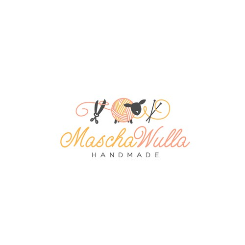 Feminine logo for a handmade wool knitting product