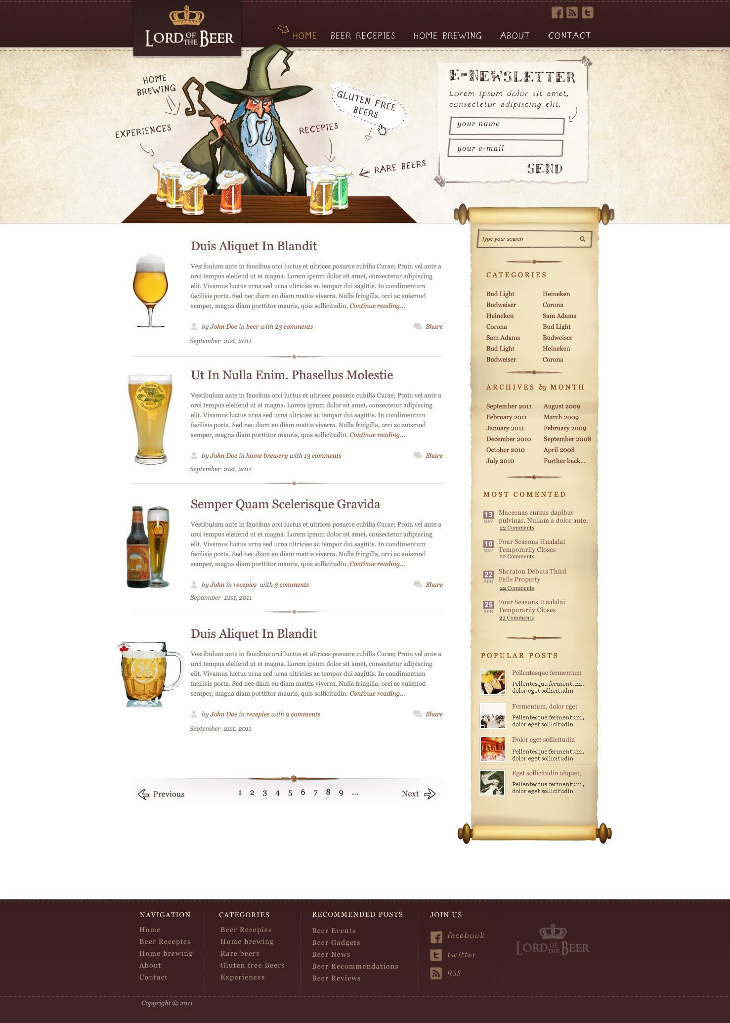 Lord of the Beers Wordpress Thesis Skin