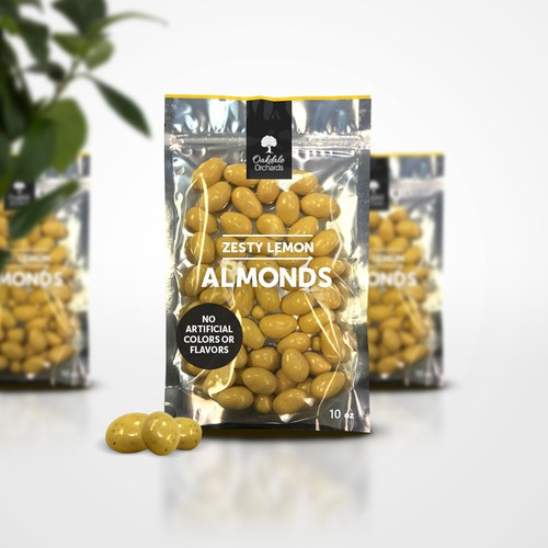 Lemon and white chocolate covered almonds packaging design
