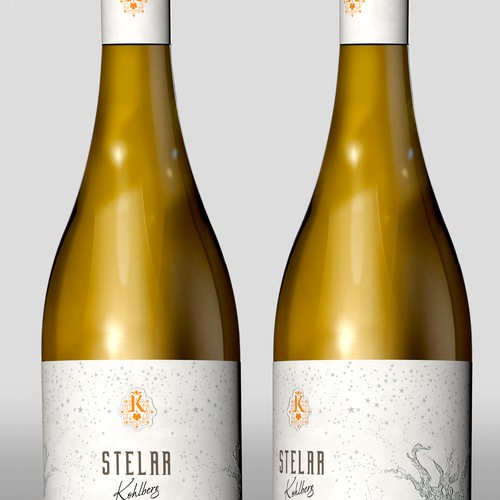 Design a top wine label for a new night harvest white wine