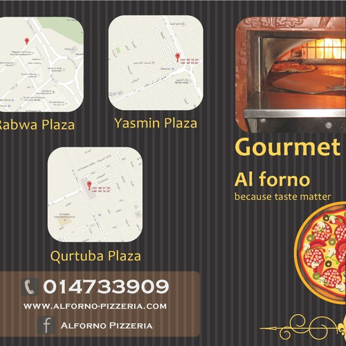 "Create a food menu for a  ""gourmet pizzeria"""