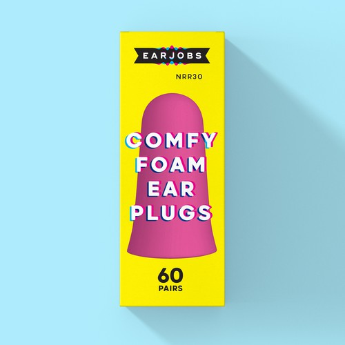Playful box packaging for our cheeky ear plug brand
