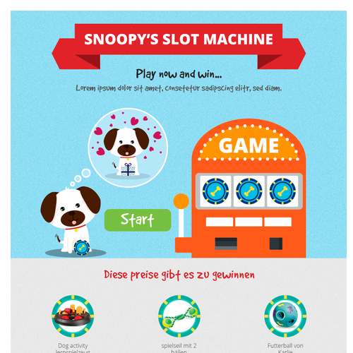 Landing page with prizes for dog owners
