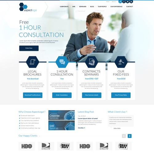 Homepage design for Aspect Legal