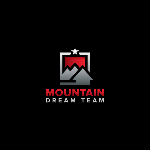 Minimalist mountain logo concept for real estate sales team