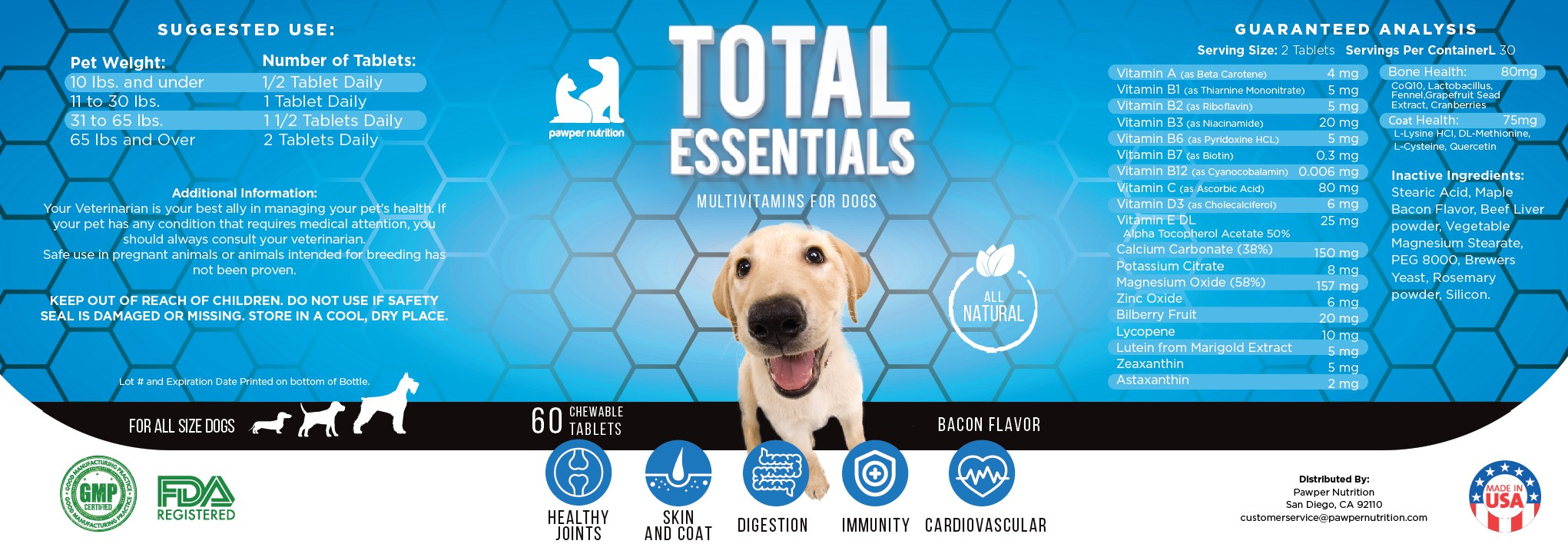 Label Designer needed for a pet supplement company's first product