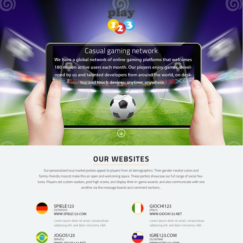 Single page website / landing page for game publishing company