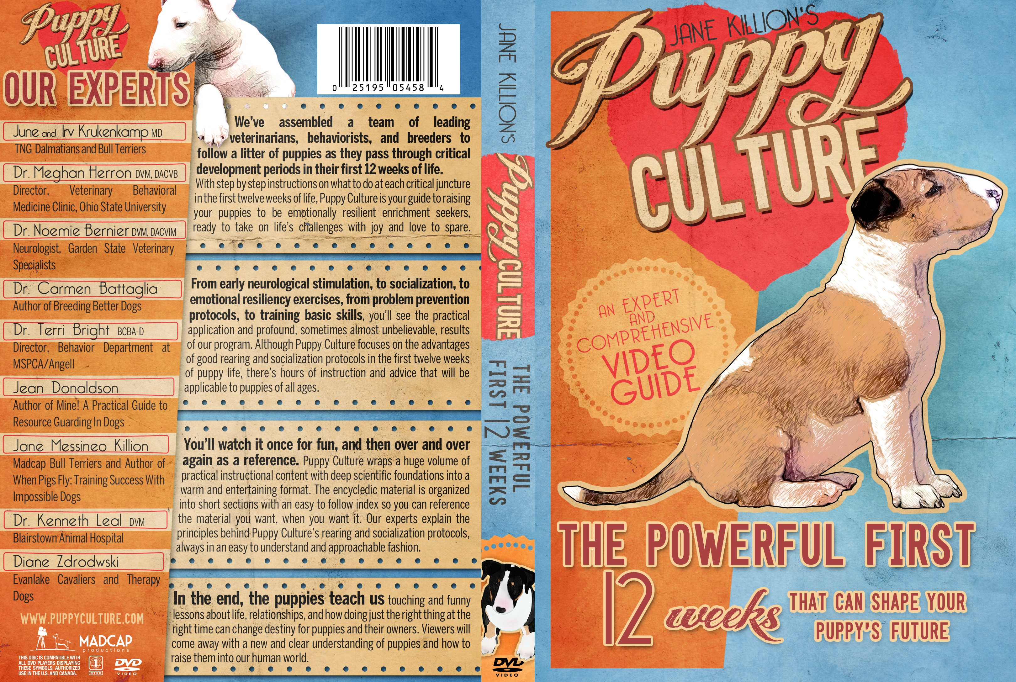 Create a DVD cover and label for our creative puppy rearing and socialization DVD!