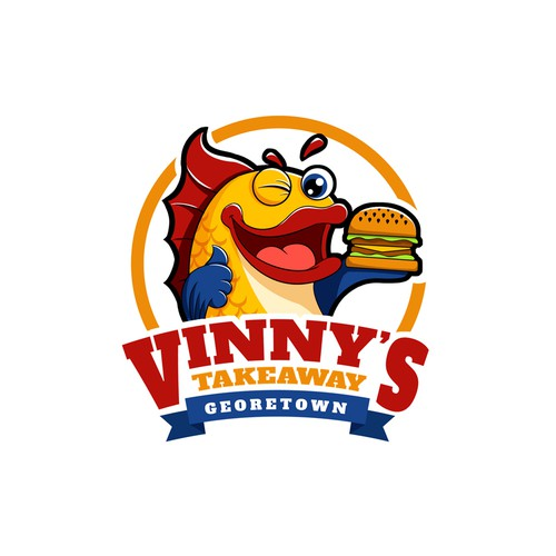 Cartoon logo for a fish and chip restaurant