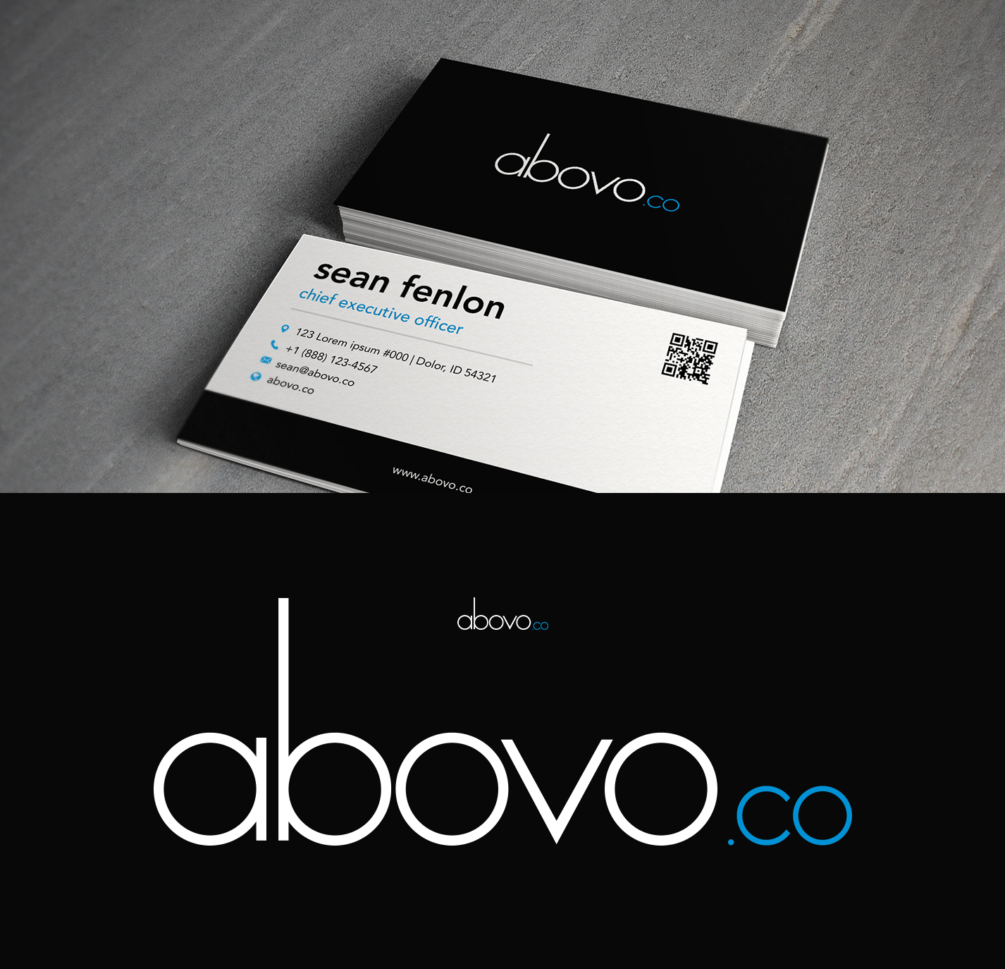 Re-design of Abovo Logo to synchronize with newly acquired Abovo.co Domain Name.