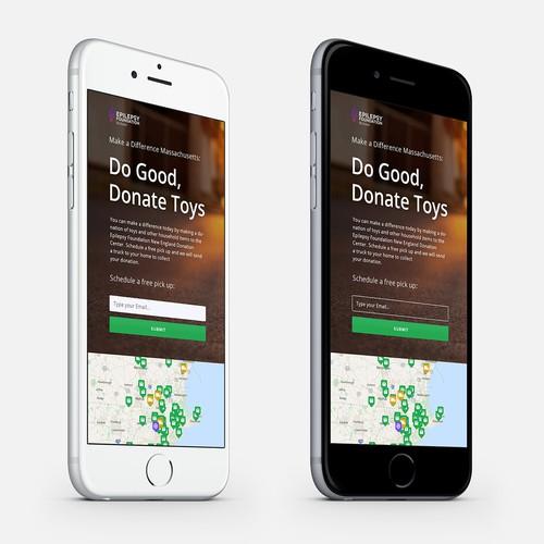 Landing page design for a non-profit