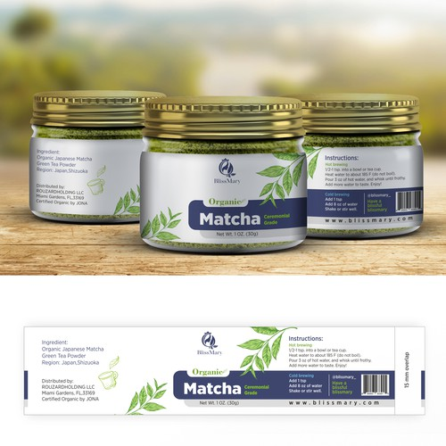 Blissmary-Need a product lable design for a brand.Organic Matcha