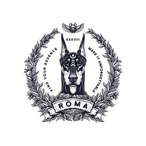 """ROMA"" Mytical perfume logo"