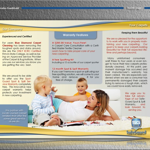 brochure design for SafeGuard Spot & Spill Warranty Brochure