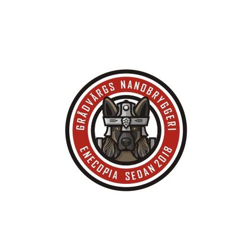 Design a Beer brewery logo featuring a german shepherd