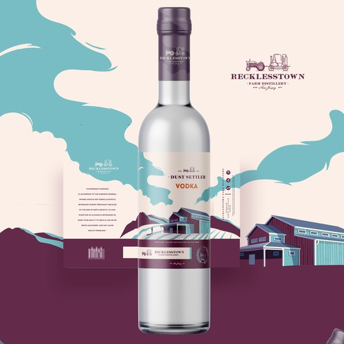 vodka label with original illustraiton