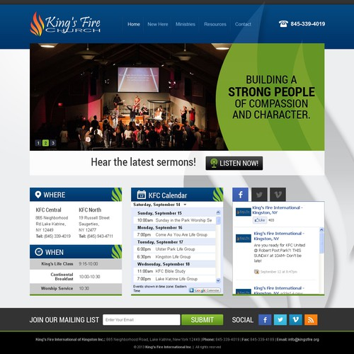 Create the next website design for King's Fire Church