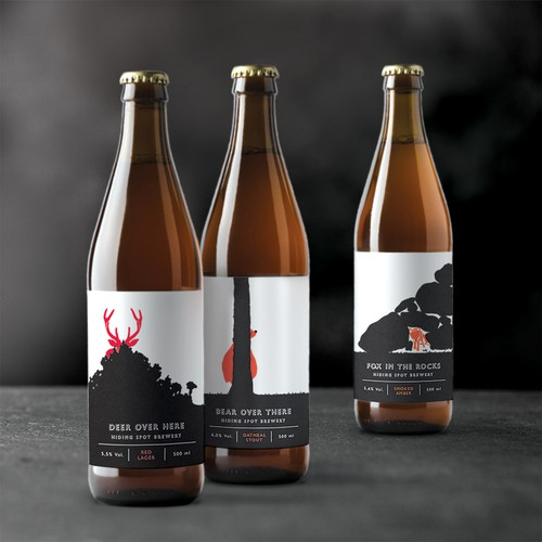 Brand identity and label design for Hiding Spot Brewery
