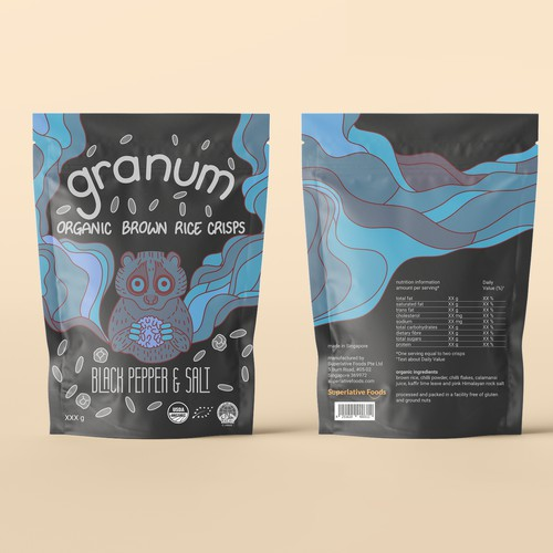 Colourful and playful package design for a favourite snack