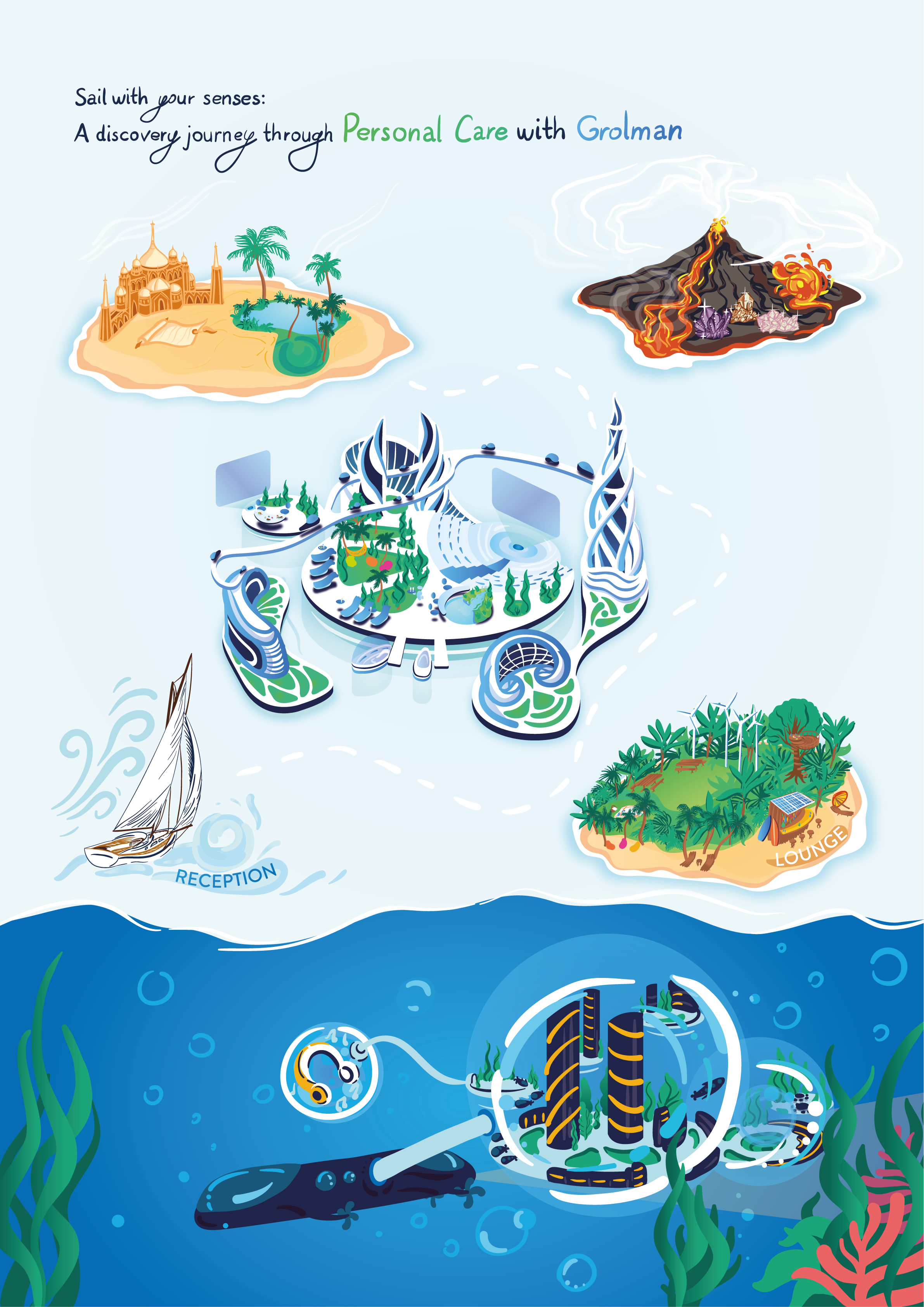 Illustrated map of islands for a virtual customer event