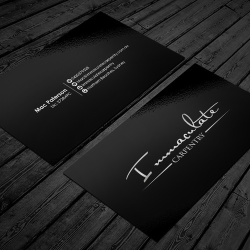 Design a stylish, sleek, modern business card for our Carpentry Company
