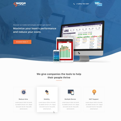 Landing page design for Sigga
