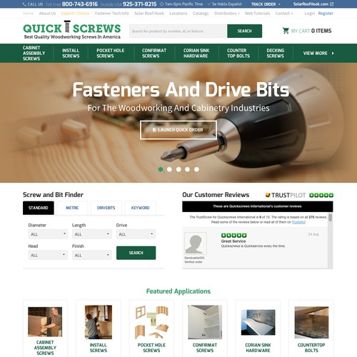 Ecommerce Store Screws & Bolt Website