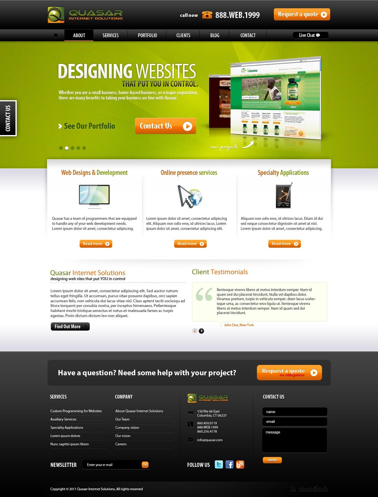 Quasar Internet Solutions needs a new website design