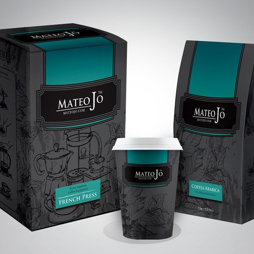 Box design for a variety of coffee products