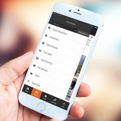 Mobile app screen design.