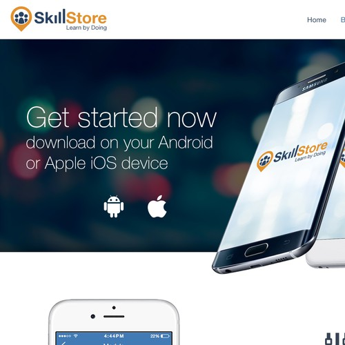 Cool web design for SkillStore: a startup offering peer learning for People Skills