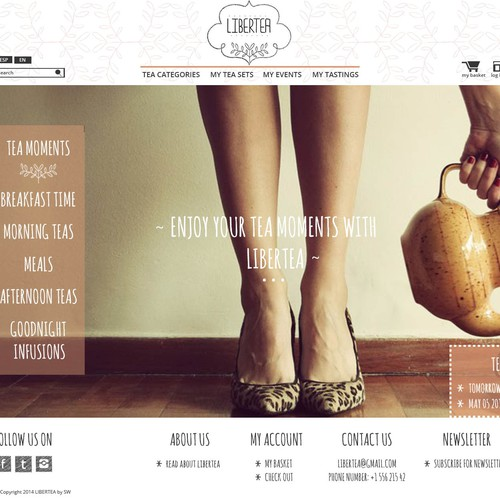 Create a new tea website with vintage spirit and creativity