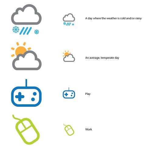 Six corresponding icons.