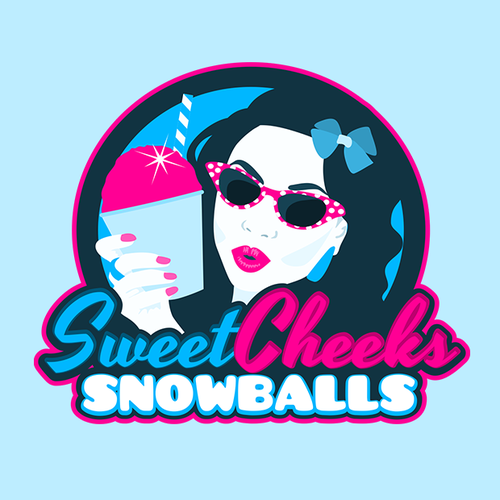 Fun, sweet, ice-cold, vintage logo for shaved ice biz