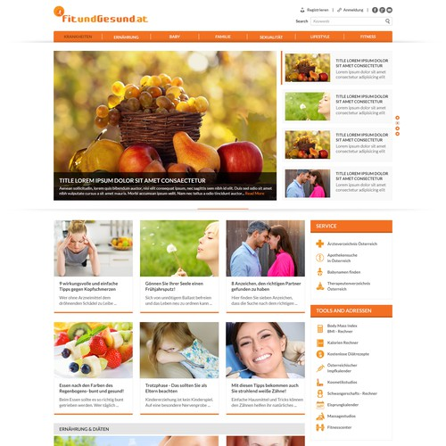 Responsive redesign for a familie & lifestyle website
