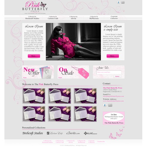 THE PINK BUTTERFLY PRESS needs a Home Page Website