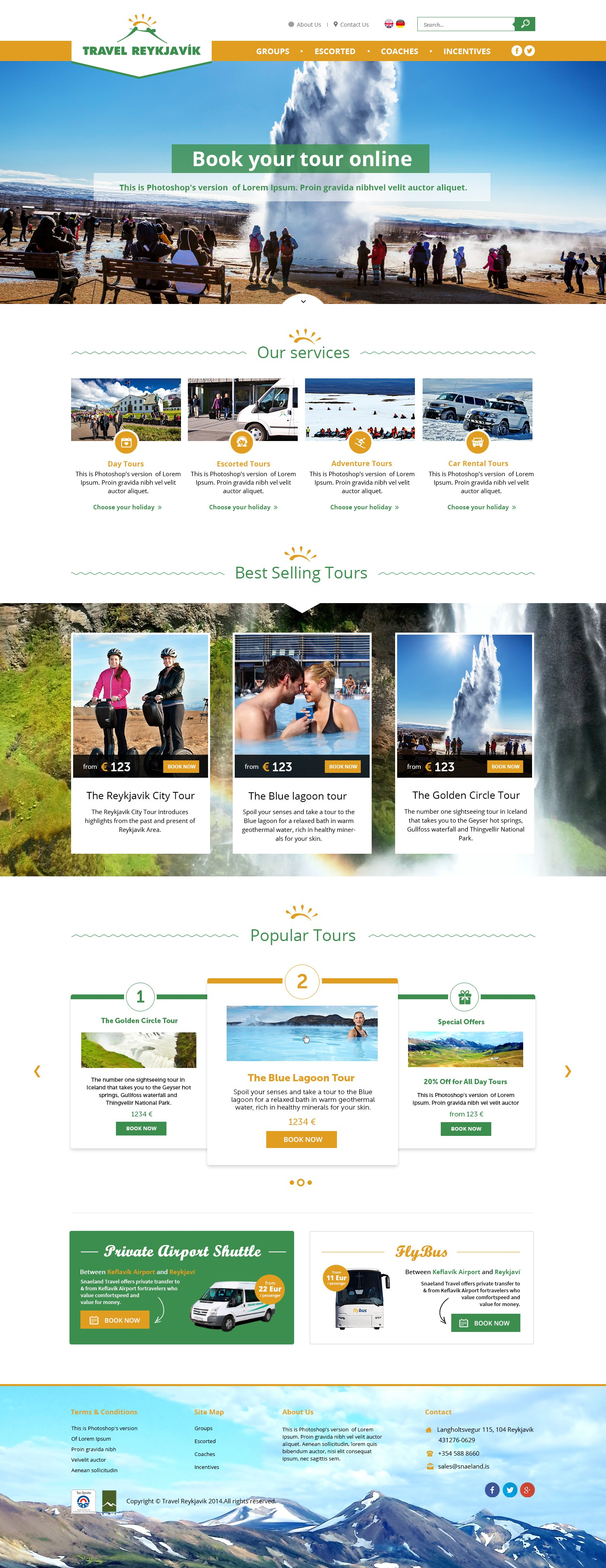 Create a frontpage for a Travel Site in Reykjavik, Iceland