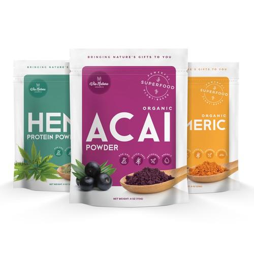 Packaging range for Via Natura superfoods