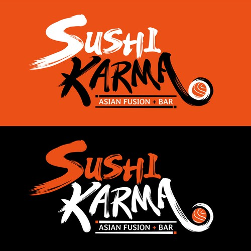 Asian calligraphy logo design for Sushi restaurant