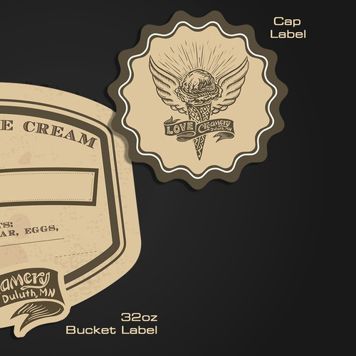 Ice Cream Container Labels for Love Creamery