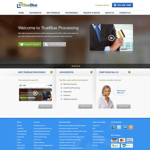 Create the next website design for TrueBlue Processing