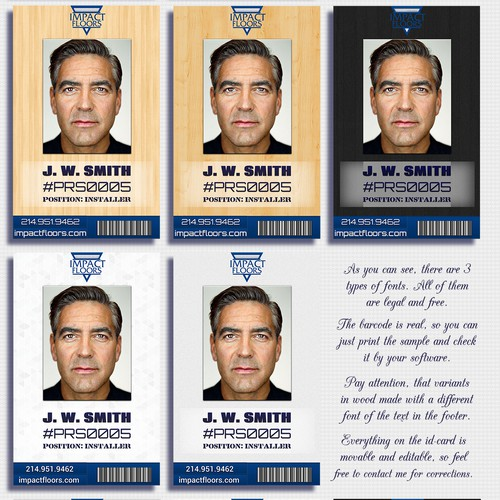 Help Impact Floors with a Identification Card Design