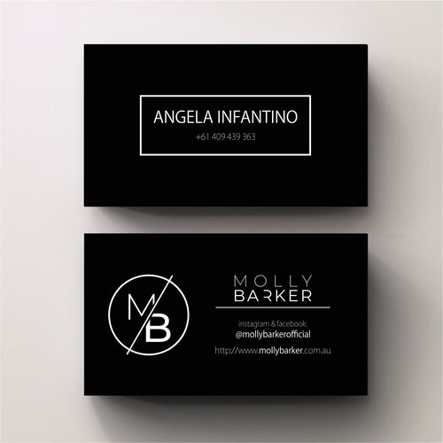 Black and White Businesscard for Molly Barker