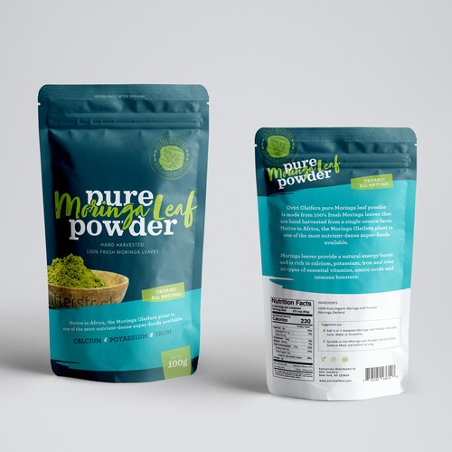 Moringa Leaf Powder packaging design.