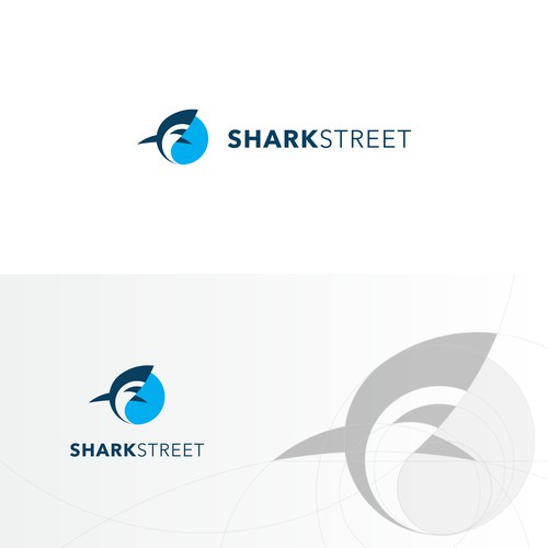 Flat simple geometric logo for shark street.