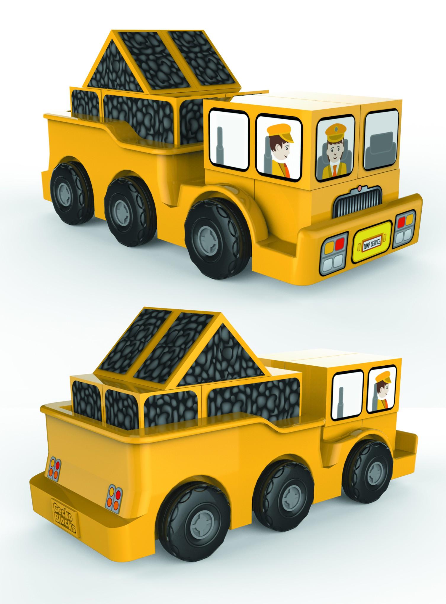 Gecko Blocks Dump Truck (converting form sketch to IGES/RHINO/STEP)