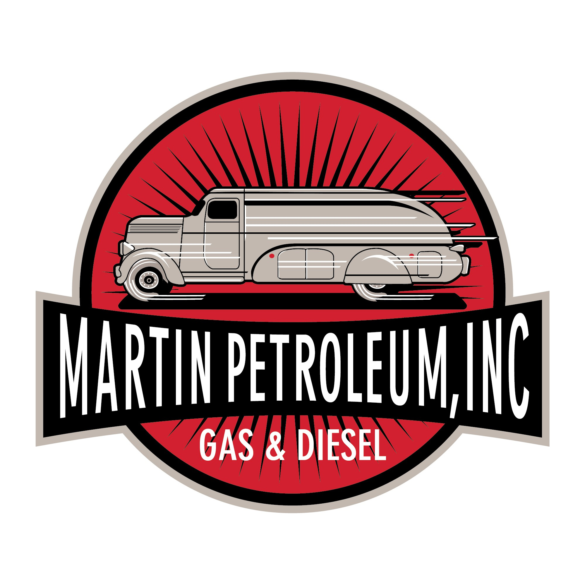 Create a vintage speeding fuel truck logo for Martin Petroleum