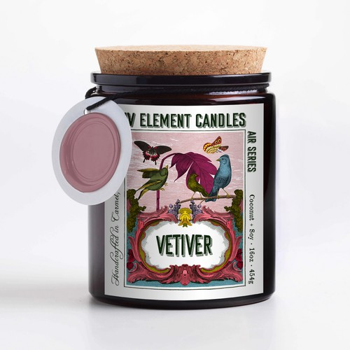Four element candle label design